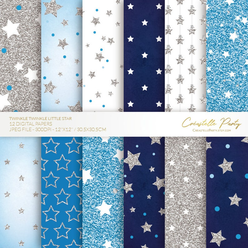 Navy blue and silver glitter twinkle little star 12 digital papers, INSTANT  DOWNLOAD