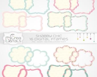 Shabby chics turquoises et roses cadres - cliparts numériques 16 - INSTANT DOWNLOAD