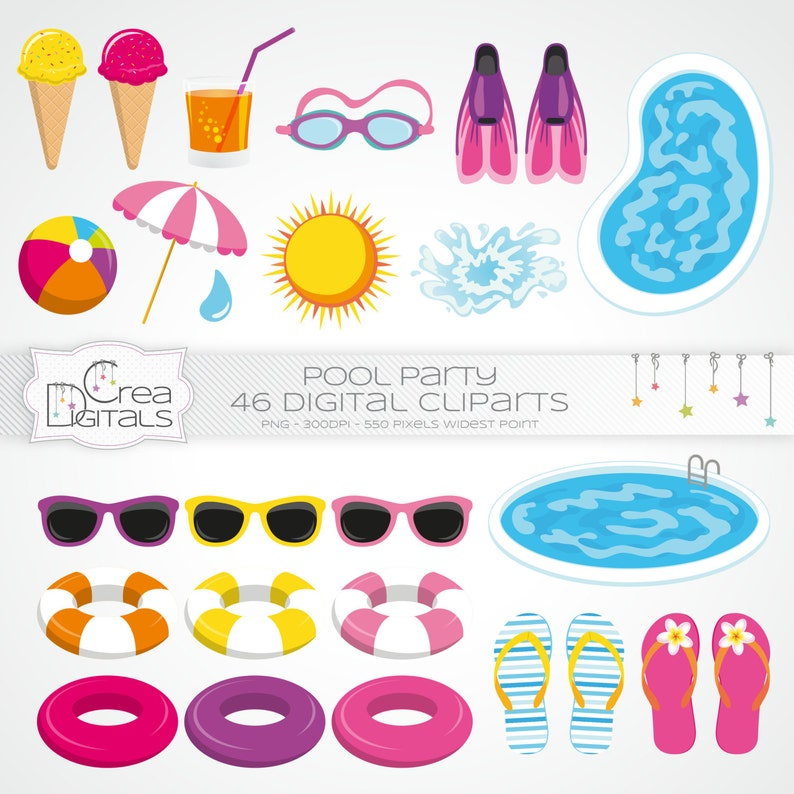 Summer pool party for girls INSTANT DOWNLOAD 46 cliparts