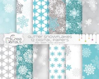 Bokeh et paillettes flocons de neige bleus - 12 papiers digitaux - INSTANT DOWNLOAD