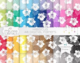 Hibiscus hawaïen fleurs arc en ciel de papier - 48 papiers digitaux - INSTANT DOWNLOAD