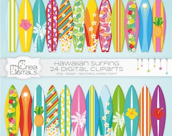 Cliparts Hawaiian 24 planches de surf de l'été - téléchargement immédiat