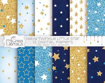 Paillettes bleu marine et or twinkle little star 12 papiers digitaux - INSTANT DOWNLOAD