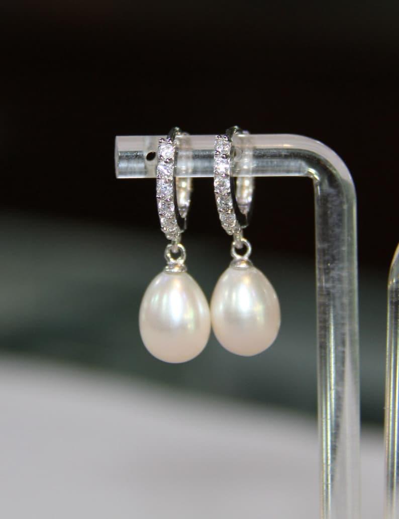freshwater pearl earrings pearl drop earrings wedding pearl image 1
