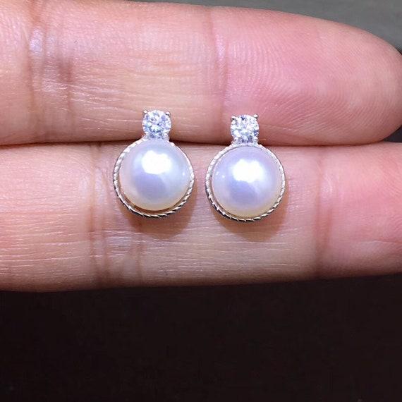 7-8 mm Weiß Süßwasser Perle Ohrringe Perle Ohrringe