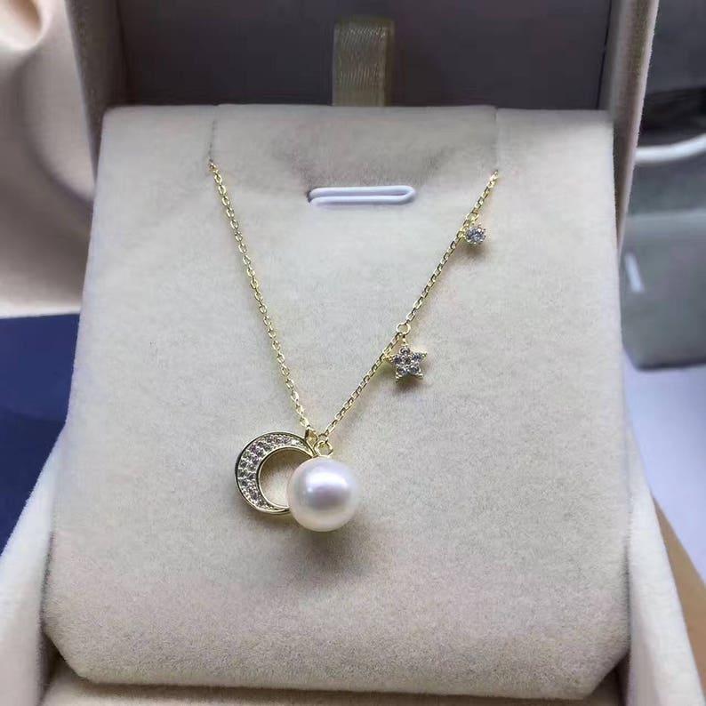 616812489a6f Verdadera perla colgante collar collar de plata esterlina