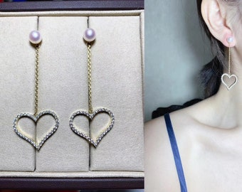freshwater pearl earrings, pearl drop earrings, wedding pearl earrings, pearl earrings bridesmaid, bridal earrings pearl rhinestone