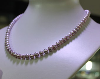 Pearl Necklace 18 Inches 7-8mm Lavender Freshwater Pearl Necklace,pearl jewelry necklace