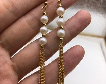 freshwater pearl earrings, pearl drop earrings, wedding pearl earrings, pearl earrings bridesmaid, bridal earrings pearl,long earrings pearl