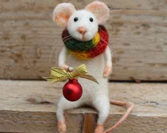 needle felted christmas mouse christmas mouse felted mouse christmas decoration felted white mouse with christmas red ball gift idea