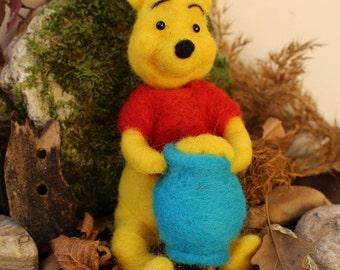 Winnie the Pooh ,Bear Needle Felted, Disney Winnie the Pooh, honey, Gift idea for friend,