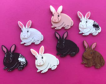 Pre-order ~ Bunny Brooches ~ Laser Cut Acrylic
