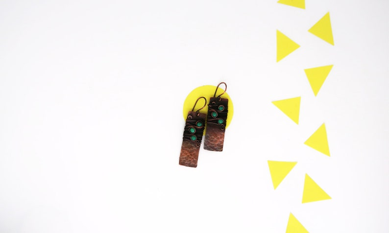 Turquoise earrings dangle Copper earring.