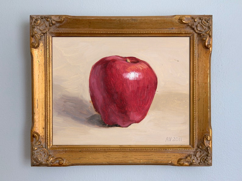 Washington Apple original oil still life painting by Aleksey image 0