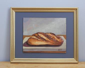Original Framed Oil Painting Still Life, Bread by Aleksey Vaynshteyn