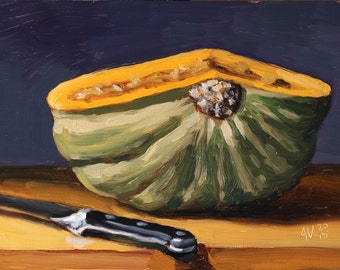 Kabocha Squash Still Life Painting, original oil painting on board by Aleksey Vaynshteyn