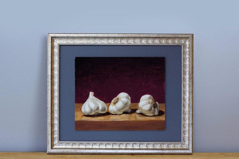 Garlic Painting framed oil on hardboard original painting by image 0