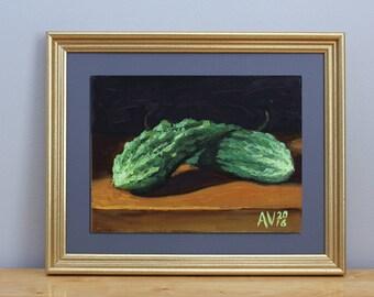 Bitter Melons Original Oil Painting Still Life by Aleksey Vaynshteyn