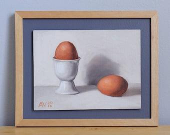Brown Eggs Painting, original framed oil painting still life on board by Aleksey Vaynshteyn