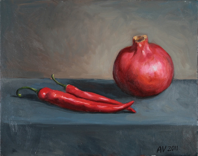 Pomegranate and Hot Peppers  11x14 oil on canvas by Aleksey image 0