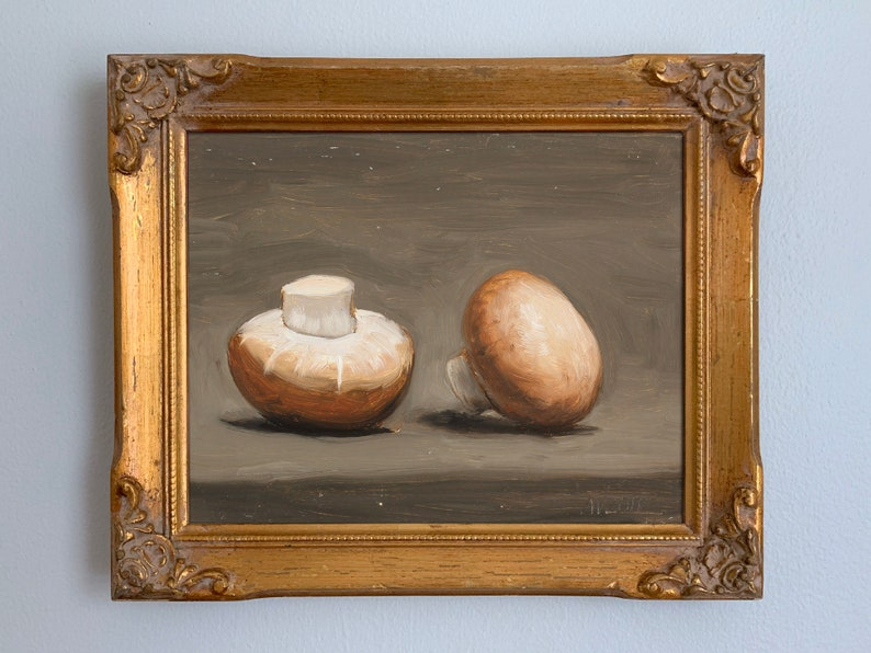 Baby Portobello Mushrooms Original Small Oil Painting by image 0