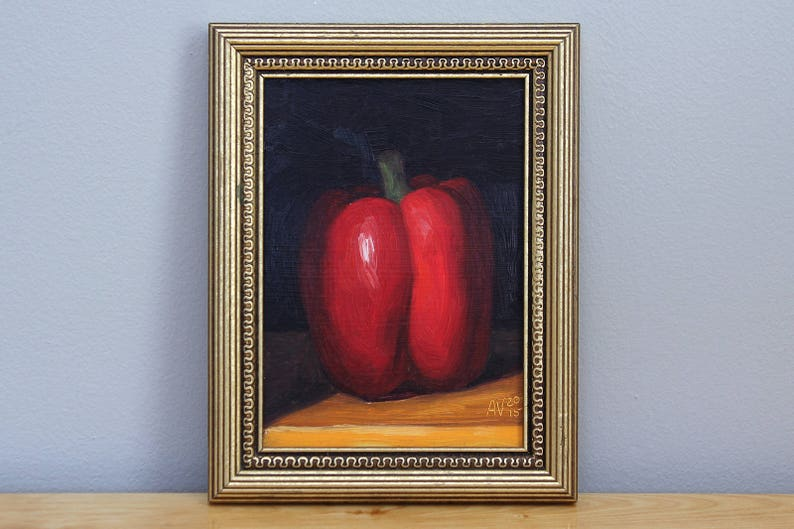 Red Pepper Framed Still Life Painting original oil painting image 0