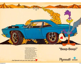 1969 Plymouth Road Runner Vintage Poster