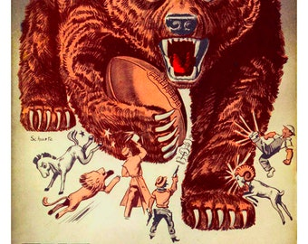 Vintage Reproduction 1958 Chicago Bears NFL football poster