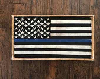Thin Blue Line Flag - Police Sign - Law Enforcement - Wooden Sign - Police Decor - Law Enforcement Support - Thin Blue Line Flag