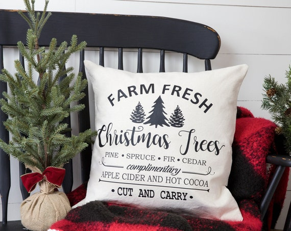 Christmas Pillow Cover - Christmas Decor - Christmas Gift - Farmhouse Christmas Decor - Gift Idea - Cotton Pillow Cover
