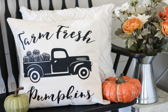 Fall Pillow Cover - Farm Fresh Pumpkins - Decorative Pillow Cover - Fall Pillow - Fall Decor - Farmhouse Fall