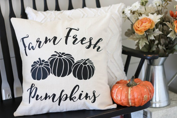 Throw Pillow Cover - Fresh Pumpkins - Decorative Pillow Cover - Fall Pillow - Fall Decor - Farmhouse Fall