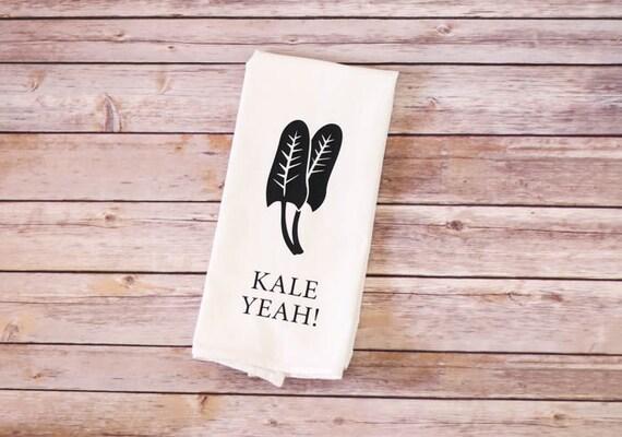 Funny Tea Towel - Flour Sack Towel - Kale Yeah!