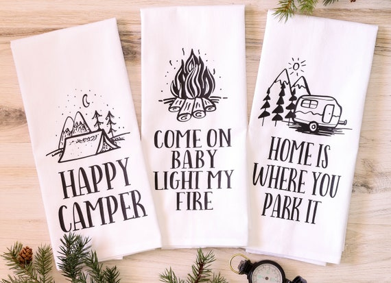 Camp Collection - Happy Camper Floursack Dish Towel - Set of 3 towels - LIMITED EDITION