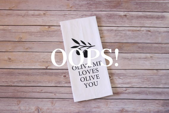 OOPS!  Floursack Tea Towel - Olive Me Loves Olive You (Branch)