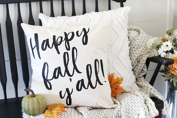 Throw Pillow Cover - Happy Fall - Decorative Pillow Cover - Fall Pillow - Fall Decor - Farmhouse Fall