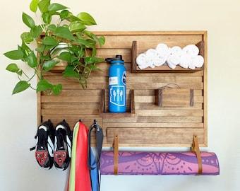 Exercise bike shelf - stationary bike shoe holder - home gym storage - towel and water bottle shelf