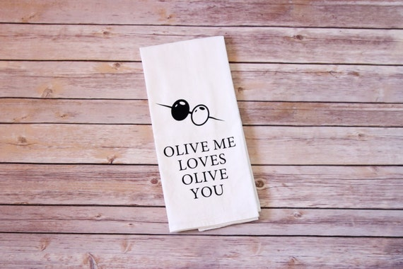 Funny Song Lyric Tea Towel, Flour Sack Towel - Olive Me Loves Olive You - Modern