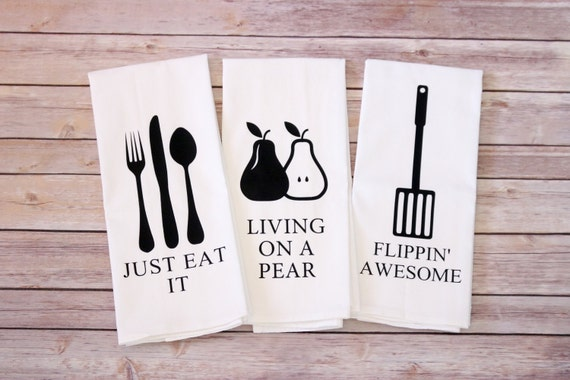 Funny Song Lyric Tea Towels, Flour Sack Towels - Just Eat It, Living on a Pear, Flippin' Awesome