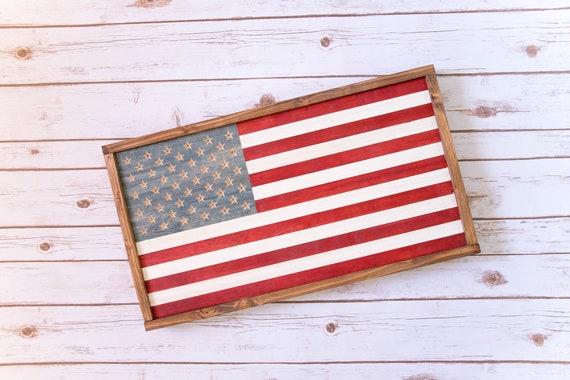 "Rustic American Flag - Framed 25x14"" American Flag"