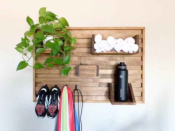 Spin bike shelf - spin bike shoe holder - home gym wall shelf - towel and water bottle shelf