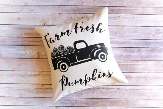 Fall Pillow Cover - Farm Fresh Pumpkins - Decorative Pillow Cover - Fall Pillow - Fall Decor - Farmhouse Fall