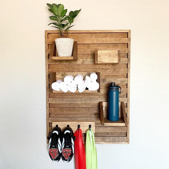 VERTICAL Stationary bike shelf - indoor bike shoe holder - home gym wall shelf - towel and water bottle shelf - indoor cycling organizer