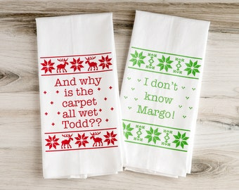 Christmas Towels - Why Is The Carpet All Wet - Christmas Vacation, Dish Towels, Christmas Gift, Floursack Towels