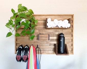 Stationary bike shelf - home gym storage - towel and water bottle shelf - indoor cycling organizer