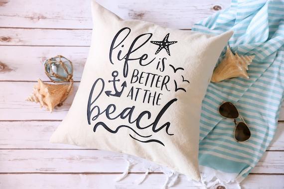 Beach House Pillow Gray White | Beach