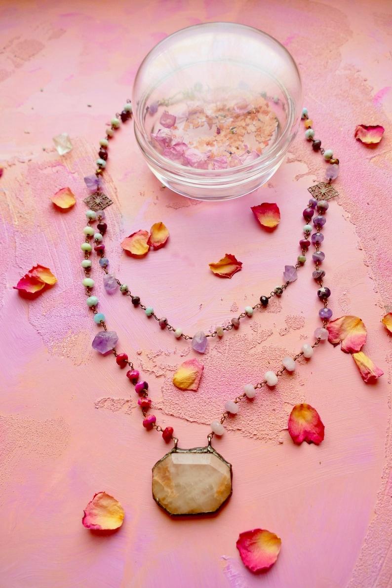 Ribbonwood pink opal and multi healing gemstone double strand gemstone chain necklace