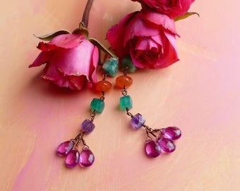 Primavera chrysoprase, amethyst, larimar, green onyx, carnelian and quartz earrings