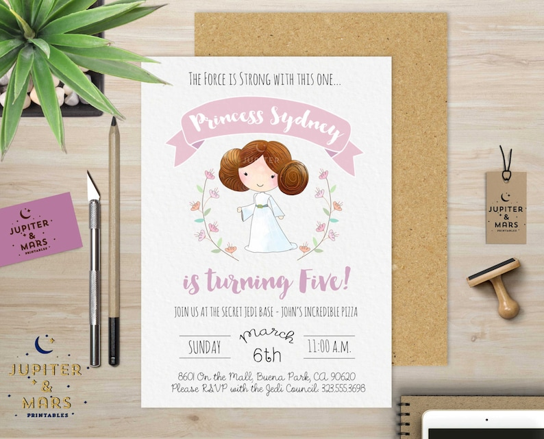 Watercolor Princess Leia Birthday Party Invitation Purple