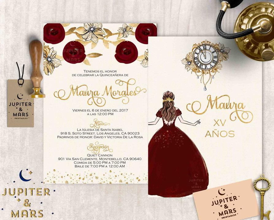 gold burgundy quinceañera invitation quinceanera invitation etsy